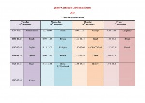 Junior Certificate 2015 Christmas exam timetable-page-001 (1)